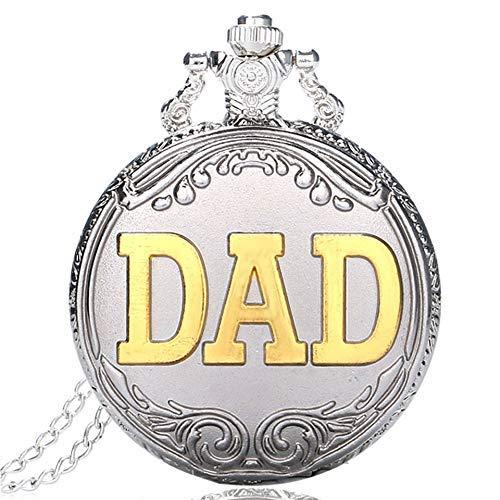 J-Love Plata, Oro, papá, Cuarzo, Bolsillo, Reloj Vintage, Cadena, Cadena, Cadena, Hombres, Reloj, día del Padre, Esfera Blanca, Regalos