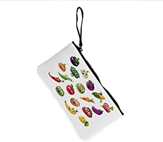 Canvas Coin Purse Zipper Coin Holder Mini Wallet Bags Cosmetic Makeup Bags,Carrot Banana Pepper Onion Garlic Food Cartoon