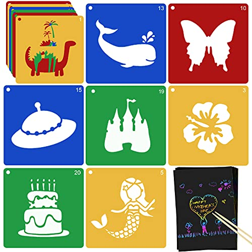 20 PCS Stencils for Kids, Jecarden Sidewalk Chalk Stencils 8 x 8 Inch Colorful Large Stencils with 5 PCS Scratch Paper Washable Craft Fun Chalk Stencils Gift Idea for Boys and Girls to Learn Painting