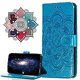 MRSTER Funda para Samsung Galaxy Note 9, Estampado Mandala Libro de Cuero Billetera Carcasa, PU Leather Flip Folio Case Compatible con Samsung Galaxy Note 9. LD Mandala Blue