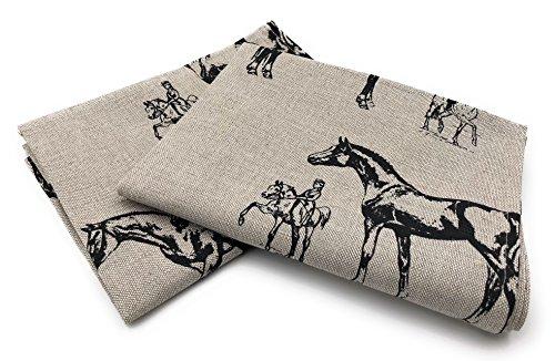 JOWOLLINA 2er-Set: Geschirrtücher Küchenhandtücher Handtücher Tücher 47x70 cm Leinenmischung bedrückt (Pferd)
