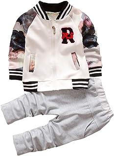 BibiCola Toddler Baby Girls Fall Outfits Sets Long-Sleeve T-Shirt +Pants 2pcs Cute Newborn Clothes