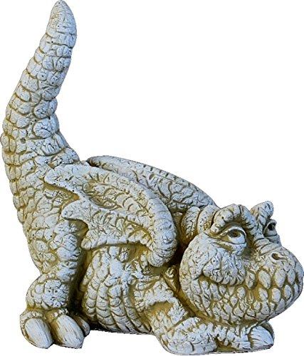 DEGARDEN AnaParra Figura Decorativa Dragon de hormigón-Piedra para jardín o Exterior 38cm.