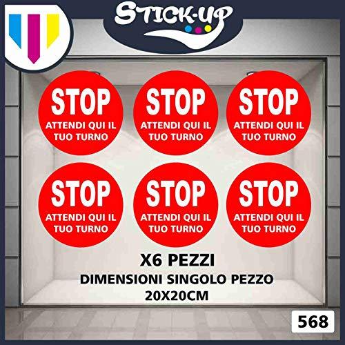 Stick-up Stickers Kit bollini Adesivi Covid 19 RIPOSIZIONABILI Stop Attendi Qui Il Tuo Turno- 20x20 cm - Adesivo plastificato per Esterni e Interni.Etichette adesive (6)