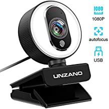 UNZANO PC Streaming Webcam with Ring Light, 1080P Full HD Web Camera Compatible with Xbox w/Dual Mic, Autofocus, Plug and Play, 360 Degree Rotatable