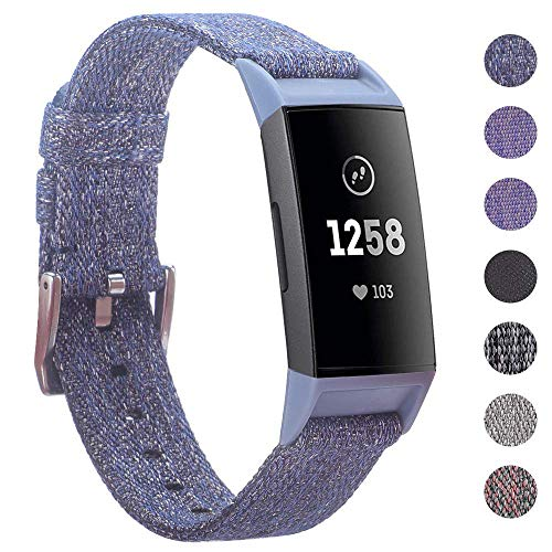 EZCO Bands Compatible with Fitbit Charge 4 / Charge 3 / Charge 3 SE, Woven Fabric Breathable Watch Strap Quick Release Replacement Wristband Accessories Man Woven for Charge 3 4 Fitness Smart Watch