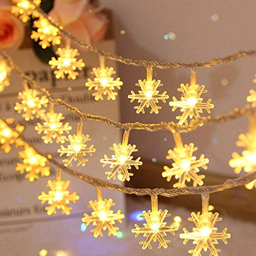 Christmas Snowflake String Lights, 20ft 40 LED Fairy Lights Warm White Twinkle Lighting Indoor/Outdoor Halloween Christmas Decorations Snowflakes Decor for Bedroom Party Xmas Tree (Warm Color)