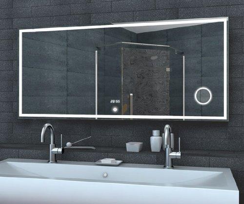 Luce orologio specchio specchio cosmetico INTERRUTTORE DI tocco, Alluminio, 160x60