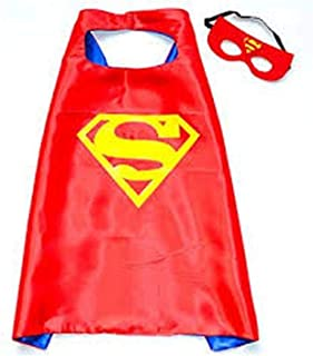Double sided Kids or adults mini funny Red superman comic superhero costume with mask and cape
