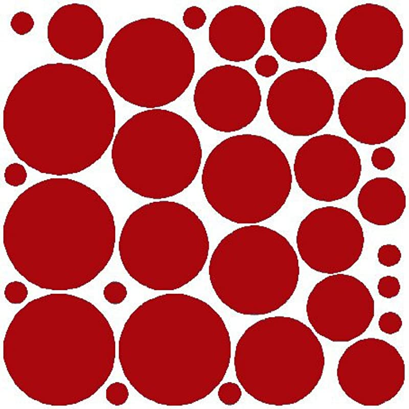 N SunForest 34 Red Polka Dots Vinyl Wall Decals Removable D Cor Stickers Home Kitchen Baby Nursery Wall Art Mural