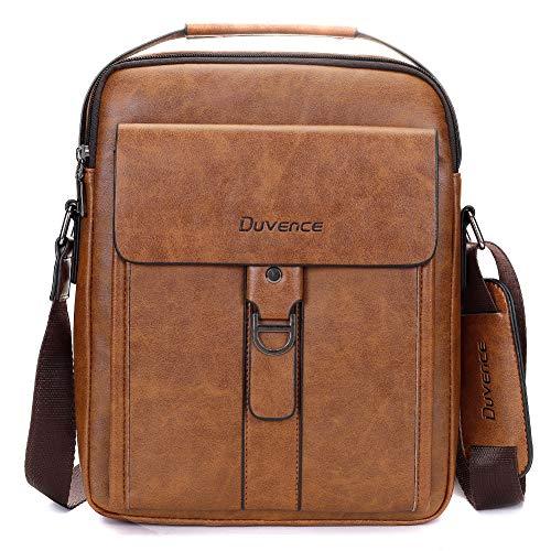 Duvence large capacity messenger bag for men,PU leather men purse business man handbag crossbody shoulder bag (red brown) ...