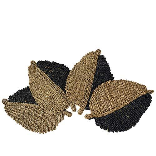 Juego 4 manteles individuales de hierba de mar en forma de hoja para mesa de comedor,alfombra trenzada natural,hecha a mano, paja marina,mimbre,resistente al calor,aislamiento térmico,antideslizante