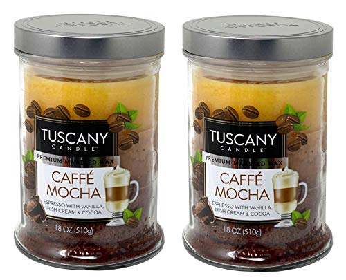 Tuscany Candle 18oz Scented Candle, Caffe Mocha 2-Pack