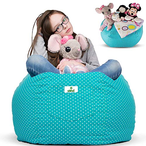 Kroco Stuffed Animal Storage Bean Bag Chair for Kids Room | Stuff n sit Toy Storage Bags | Beanbag Cover for Girls & Boys | Toys Organizer Seat Holder | Stuffy Deal - 38   Blue, Teal- Turquoise