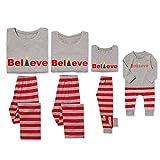 PatPat Dad Mom Baby Kids Family Matching Christmas Striped Pajamas Set Sleepwear (Kids: 2 Years)