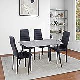 GOLDFAN Esstisch mit 4 Stühlen Moderner Rechteckiger Esstisch Holz Küchentisch Küchenstuhl Esszimmerstuhl aus Leder, Grau& Schwarz