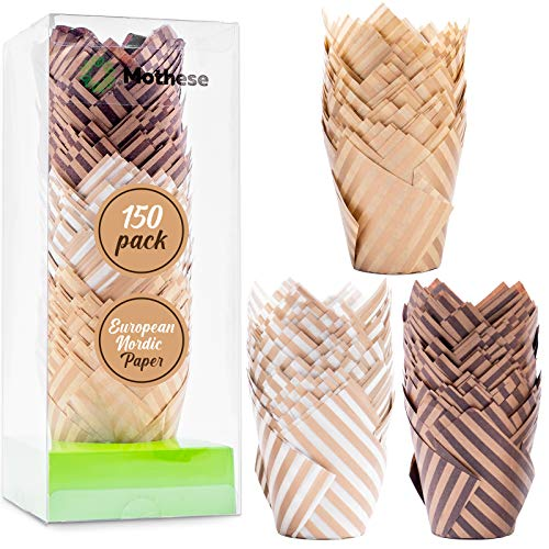 Mothese Baking Paper Cups Cupcake Liners - 150 Pcs Brown White Tulip Style Baking Wrappers Muffin Cups Greaseproof Parchment Paper Square Non-Stick for Medium Large Cupcakes Mini Cake Party Birthday