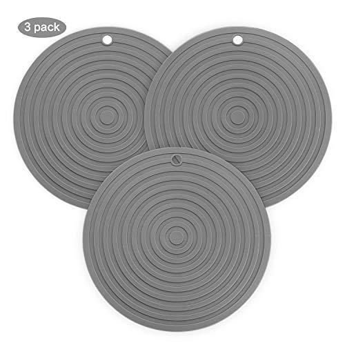 BONTHEE 24cm Silikon Topflappen rutschfest Topf Untersetzer Topfhalter Matte Hitzebeständig Pads für Backen und Kochen- 3er Set (Grau)