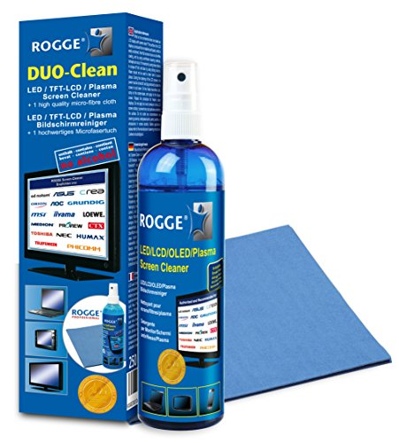 ROGGE DUO-Clean Screen Cleaner 250ml + 1 Microfasertuch 38x40cm + 10ml Spray Pen