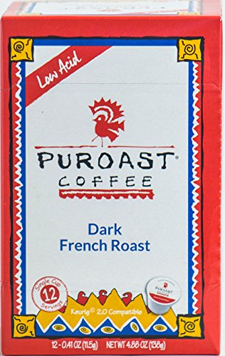 Puroast Low Acid Coffee Single-Serve Keurig K-Cup Pods, French Roast, High Antioxidant, Compatible with Keurig 2.0 Coffee Makers (12 Count)