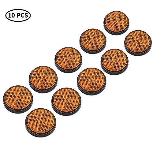 AOHEWEI 10 Pack Runde Reflektoren Selbstklebende Kreisförmige Reflektoren Aufklebbare Sicherheitsreflektoren Hinten für Wohnwagen LKW-Anhänger Boot Motorrad Traktor Zaun Torpfosten (Gelb)
