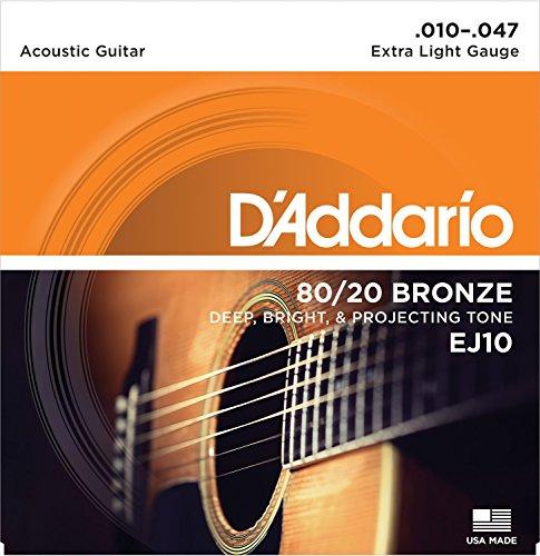 D'Addario EJ10 Bronze Acoustic Guitar Strings, Extra Light, 10-47