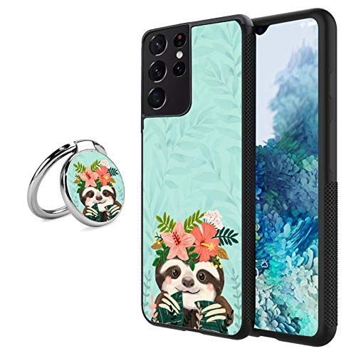 Black Samsung Galaxy S21 Ultra Case with Ring Holder Stand Cute Sloth Pattern 360 Rotation Ring Grip Kickstand Soft TPU and PC Anti-Slippery Design Protection Bumper for Samsung Galaxy S21 Ultra
