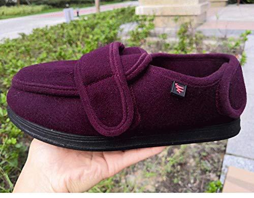 B/H Hommes Chaussons Patients diabétiques,Chaussures de Pied diabétique réglables, Chaussures de gonflement du Pied Chaussures de rééducation-vin Rouge_37,Légères La Fasciite Plantaire Chaussures