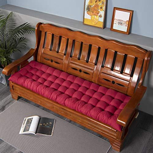 jHuanic Cojín grueso suave para silla de jardín al aire libre, almohadilla antideslizante para muebles de patio, para viajes, sofá de 2 a 3 plazas (rojo, 48 x 120 x 8 cm)
