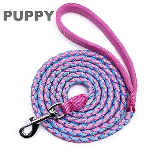 Mycicy Reflektierende Hundeleine, Beste Nylon Geflochtene Seil Leine, Hund Leine Training für Kleine und Mittlere Hunde (180cm x8mm, Rosa)