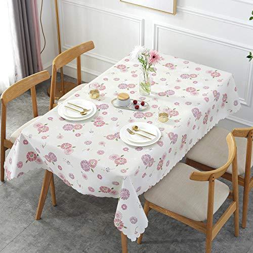 Ahuike Moderno Mantel Tipo Hule Encerado Rectangular PVC Reutilizable Resistente Al Desgaste Impermeable Elegante Morado y Blanco 65 × 65cm