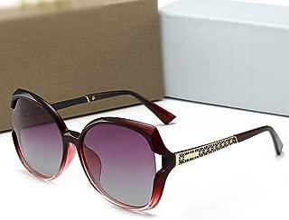 LUKEEXIN Ladies Retro Fashion Polarized Sunglasses, Classic Eyeglasses (Color : Red Frame/Gradual Purple)