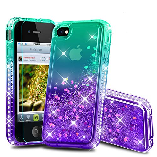 Atump iPhone 4 Case, iPhone 4S Case, Diamond Glitter Flowing Liquid Floating Protective Shockproof Clear TPU Girls Case for Apple iPhone 4/4S Green/Purple