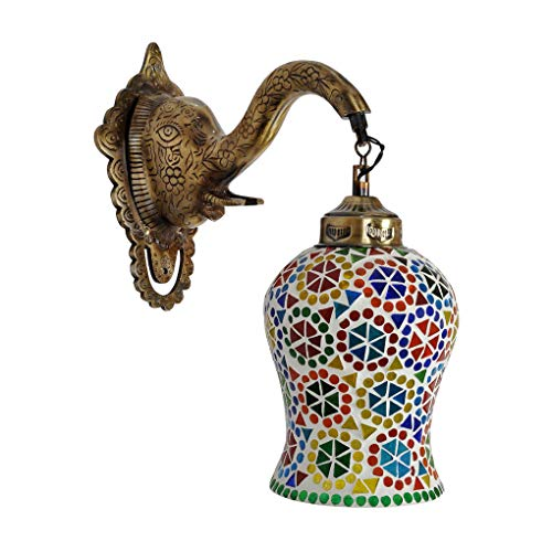 Lalhaveli Indian Mosaic Glass Metal Elephant Design Fitting Sconces Wall Light Wall Decorations 12 x 10 x 6 Inch