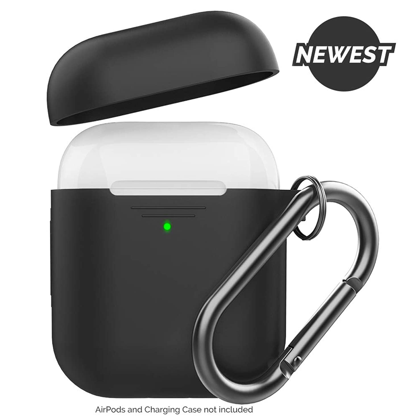 AhaStyle Newest AirPods Case Cover [Front LED Visible] Silicone Compatible with Apple AirPods 2 & 1 (with Carabiner, Black)
