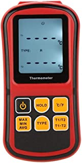ZYSWP GM1312 Digital Thermometer Dual-Channel Temperature Diagnostic Tool Tester for K/J/T/E/R/S/N Thermocouple with LCD B...