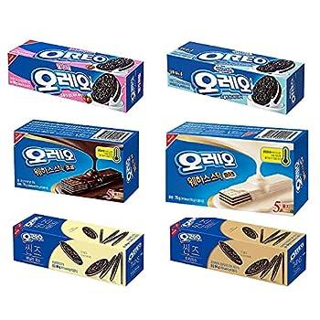 Oreo Variety Cookies Thin Wafer and Sandwich Cracker Chocolate Vanilla Strawberry Mild Sweet and Tiramisu Korea Exclusive Snacks  Pack of 6