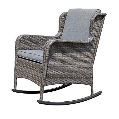Soleil Jardin Outdoor Resin Wicker Rocking Chair with Cushions, Patio Yard Furniture Club Rocker Chair, Gray Wicker & Gray Cushions