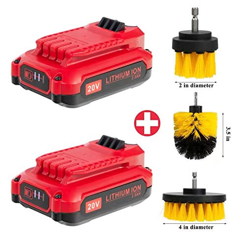 Cell9102 Replacement 2Packs for 2500mAh Craftsman 20V Battery CMCB202 CMCB204 compative with Craftsman V20 20V Cordless Drill Combo Kit