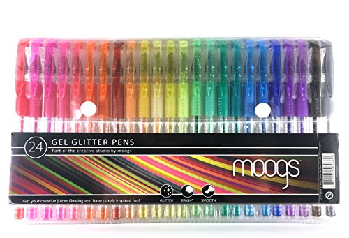 Gel Glitter Pens - 24 colored pens all with glitter ink by moogs. Enjoy more color options for more fun and creativity. MAKE AWESOME ART THAT POPS!
