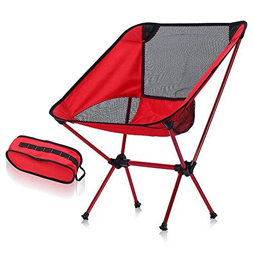 Ultraleichter Gartenstuhl Tragbarer Klappstuhl Strandklappstuhl im Freien tragbarer ultraleichter Stuhl - Rot + Schwarzes Netzwerk Ultraleichte tragbare Klappstühle im Freien mit Tragetasche