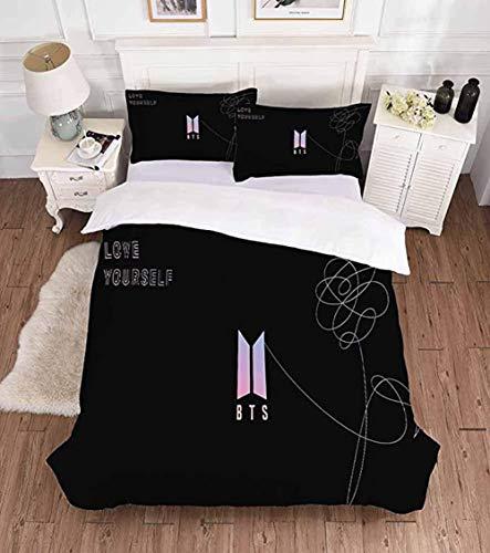 Geundampa Bedding, Black Double Bedding Duvet Set Bts Duvet Cover Set Letter Pattern Printing Bedding for Teenage Girls