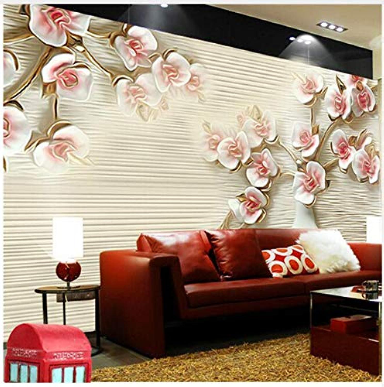 selección larga Suuyar 3D Photo Photo Photo Wallpaper Stereoscopic 3D Wallpaper Embossed Abstract Art Backdrop European Large Mural Plum Frock,200Cm(W) X 100Cm  ahorra hasta un 30-50% de descuento