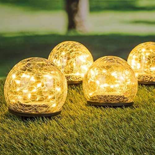 LED Solar Kugel Leuchten im 4er Set - aus Crackle Glas - Garten Deko Lampen Gehweg Solarlampe Solarleuchte gebrochenes Glas