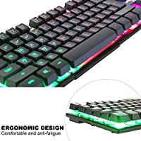 BAKTH Tastiera e Mouse da Gioco, Colore da Arcobaleno LED Retroilluminato USB Gaming Tastiera e Mouse per Videogiochi o Lavoro, Paragonabile a Una Tastiera Meccanica #4