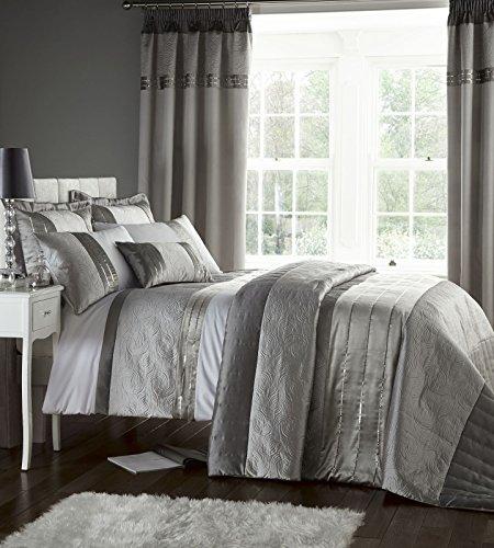 Catherine Lansfield - Juego de cama (funda de edredón de 200 x 200 cm y 2 fundas de almohada de 50 x 75 cm, 50% poliéster, 50% algodón), color plateado
