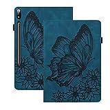 Rosbtib Hülle für Samsung Galaxy Tab S7 SM-T870/ SM-T875, PU Leder Schutzhülle mit [Standfunktion] [Kartenfächer] [Gummiband], Vintage Schmetterling Hülle für Galaxy Tab S7 11 Zoll 2020 - Blau