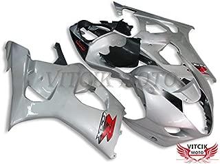 VITCIK (Fairing Kits Fit for Suzuki GSXR1000 K3 2003 2004 GSXR 1000 GSX R1000 K3 03 04 Plastic ABS Injection Mold Complete Motorcycle Body Aftermarket Bodywork Frame (Silver & Black) A035