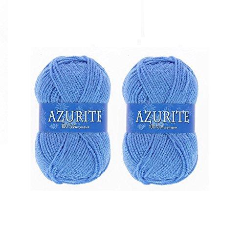 Lot 2 Pelotes de laine Azurite 100% Acrylique Tricot Crochet Tricoter - Bleu - 151