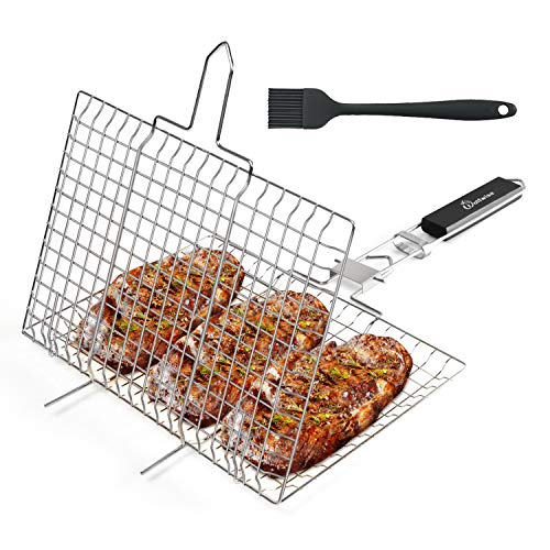 WolfWise Portable Grilling Basket BBQ Barbecue Tool Work for Fish Vegetable Steak Meat Shrimp Chops,Made of Durable 430 Stainless Steel,Medium